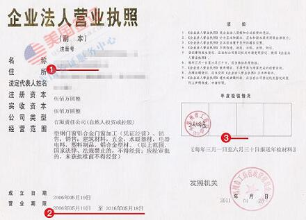 美国签证材料营业执照副本模板